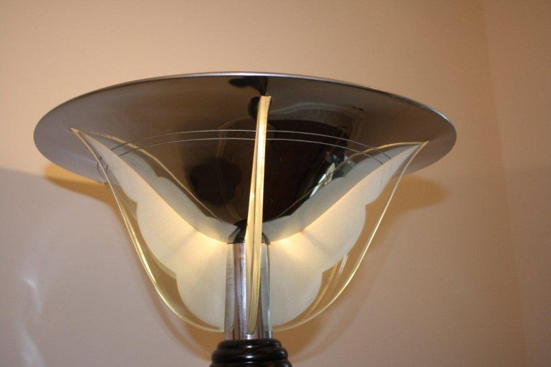 stehlampe original verchromt mit glasscheiben in fl gelform art d co annette stern art d co. Black Bedroom Furniture Sets. Home Design Ideas