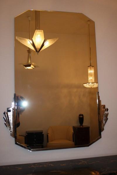 spiegel mit neu vernickeltem metallrahmen art d co annette stern art d co m bel lampen. Black Bedroom Furniture Sets. Home Design Ideas
