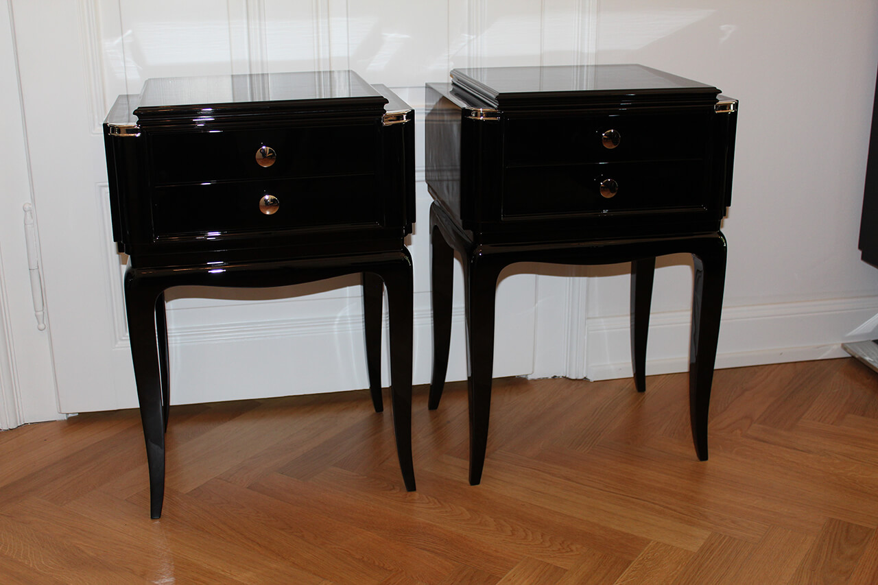 nachttischpaar in schwarzlack art d co annette stern. Black Bedroom Furniture Sets. Home Design Ideas