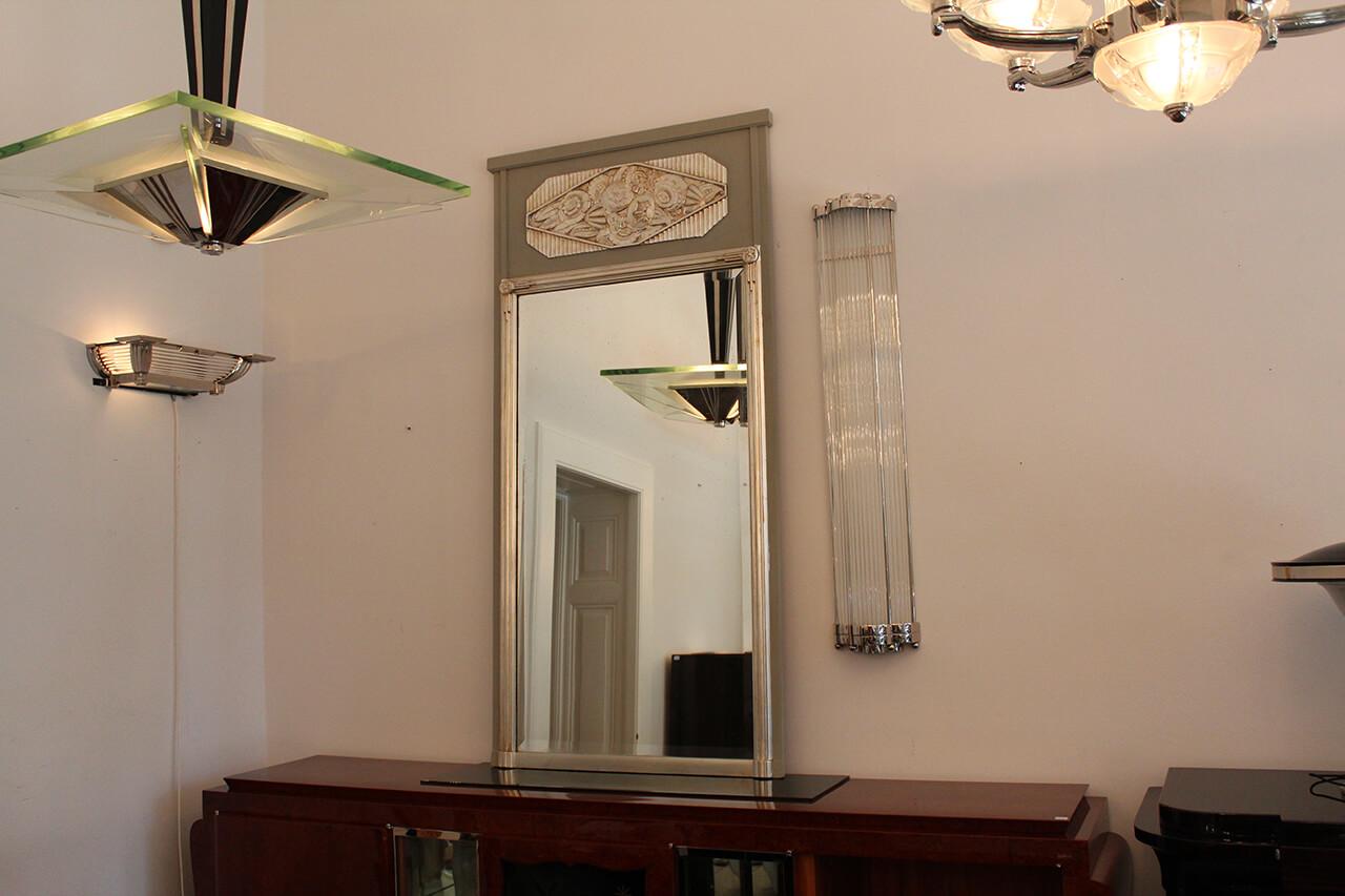 hoher eleganter spiegel in silber und barockgrau art d co annette stern art d co m bel. Black Bedroom Furniture Sets. Home Design Ideas