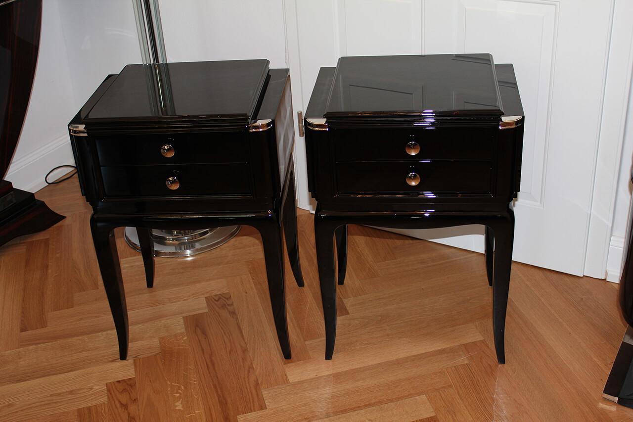 nachttischpaar in schwarzlack art d co annette stern. Black Bedroom Furniture Sets. Home Design Ideas