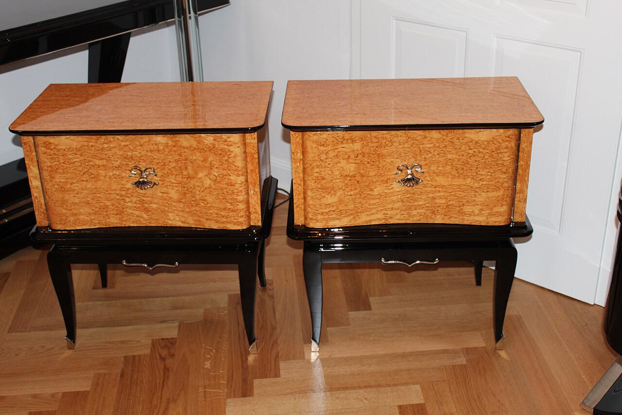 nachttischpaar oder kleinm bel in birke maser art d co annette stern art d co m bel lampen. Black Bedroom Furniture Sets. Home Design Ideas